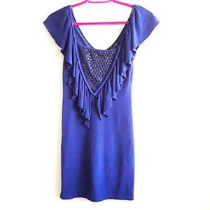 4/20$ LIMITE royal blue black ruffle dress